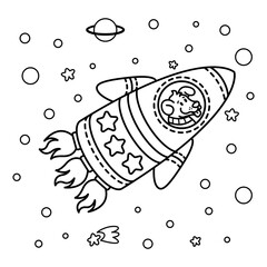 Fototapeta Dog in a rocket spaceship. Star galaxy. Cute cosmonaut dog in outer space. Vector illustration on the space theme in childish style. Picture for coloring book. obraz