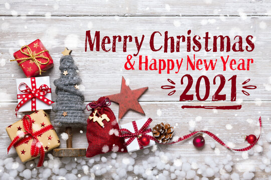 Merry Christmas and Happy New Year 2020, 2021  -  Rustic Christmas Greeting Card