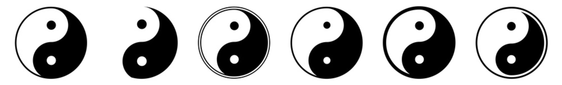 Yin Yang Sign Set | Yin-Yang Symbol Vector Illustration Logo | Yin Yang Opposite Yoga Karma Icon | Isolated Transparent