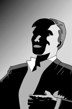Drawing of fancy man smiling in formal wear from the twenties, in film noir atmosphere and art Deco style. Vector illustration.