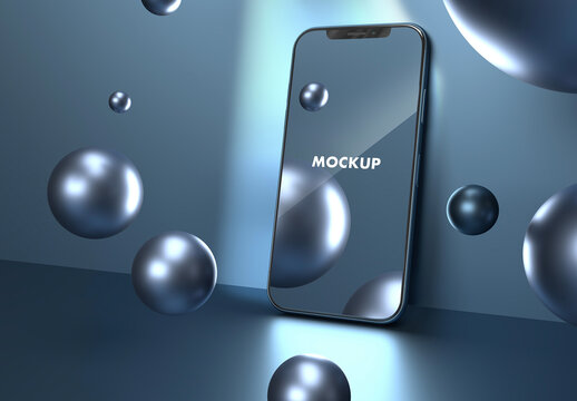 Shiny Smartphone Front View Blue Spheres Mockup