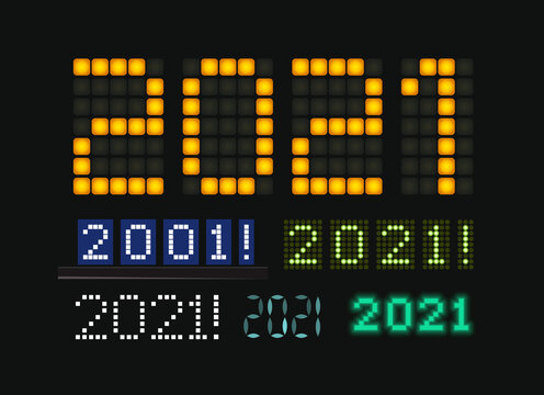 Figures 2021 vector set, glowing numbers on electric display. Characters on for trendy futuristic New Year card, digital display and scoreboard for business. Vector illustration