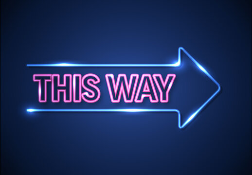 Blue Neon Arrow Mockup with Neon Text Effect
