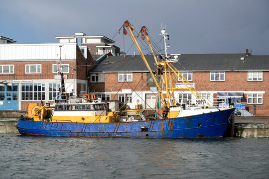 CUXHAVEN, GERMANY - OCTOBER 29, 2020: fishing vessel MARIA in the port of Cuxhaven