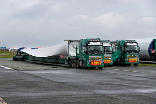 CUXHAVEN, GERMANY - OCTOBER 26, 2020: heavy haulage trucks loaded with rotor blade of a wind turbine