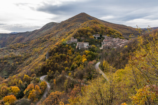 The small rural village of Pieia in the southern flank of mount Nerone (Marche, Italy) during the autumn