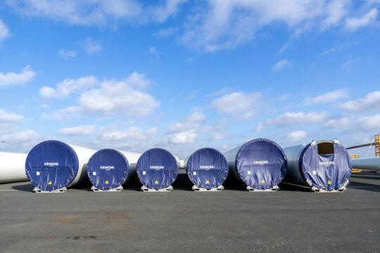 CUXHAVEN, GERMANY - OCTOBER 27, 2020: Vestas wind turbine tower elements