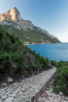 Coastline near Santa Maria Navarrese with Punta Giradili in the background (Sardinia, Italy)
