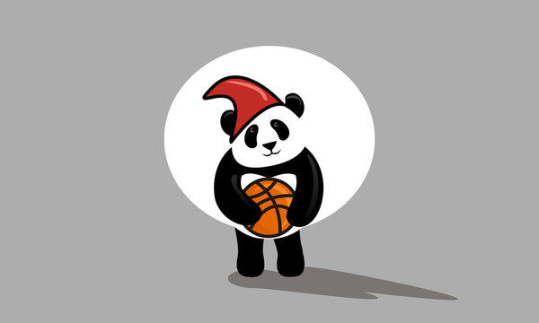 Panda with a basketball, high quality vector graphics, digital art, EPS and SVG File formats