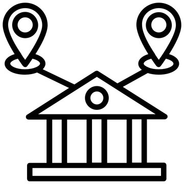 Line icon of Bank building with two other business locations,