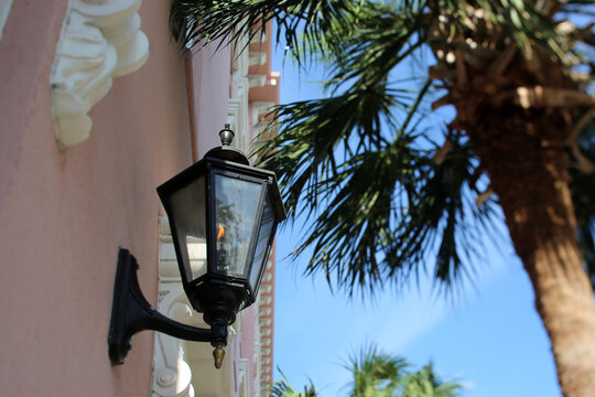 Gas Lamp On A Historice Charleston, South Carolina Building