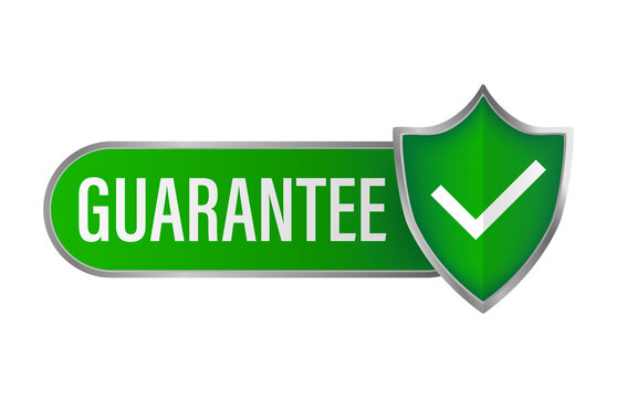 Guarantee stamp for promo design. Vintage icon with green guarantee stamp on white background for banner design.