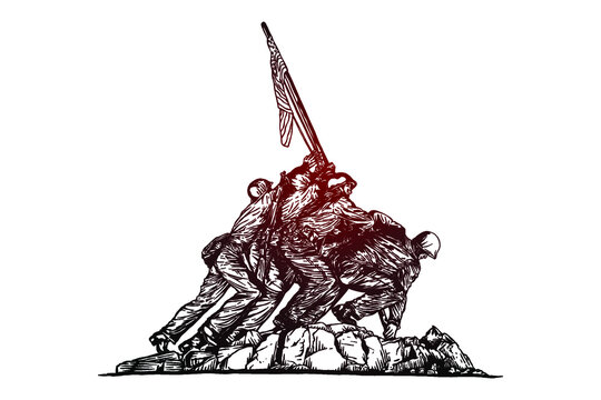 The US Marine Corps War Memorial - Hand drawn - Out line