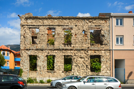 A building lies abandoned after being destroyed in the Balkans war in the town of Mostar, Bosnia and Herzegovina