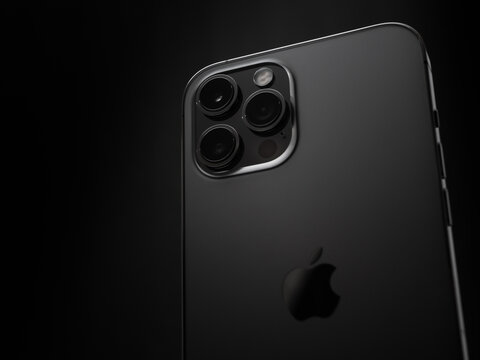 ATLANTA, GEORGIA - NOVEMBER 16, 2020 : The iPhone 12 Pro Max is Apple's most advanced and largest 5G cell phone. The phone features 3 rear facing cameras and a LiDAR sensor.