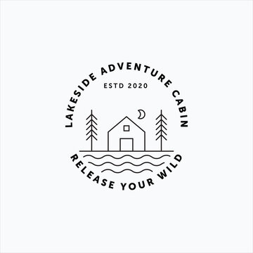 Minimalist line art vector of vintage lakeside cabin, pine tree and moon fit for cabin rental company logo, sticker, and badge