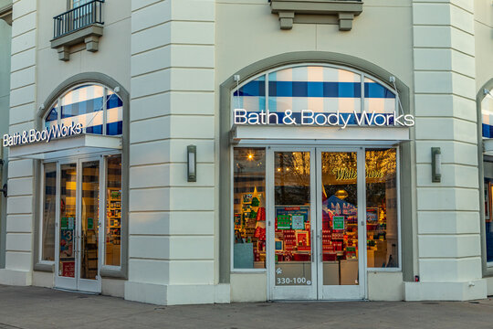 General view of the Bath and Body Works sign on November 14, 2020 at Bridge Street in Huntsville, Alabama