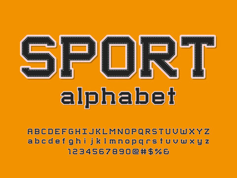 sports style embroidered stitching alphabet design with uppercase, lowercase, numbers and symbols