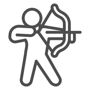 Archer line icon, self defense concept, man with bow and arrow sign on white background, weapon for for shooting icon in outline style for mobile concept and web design. Vector graphics.