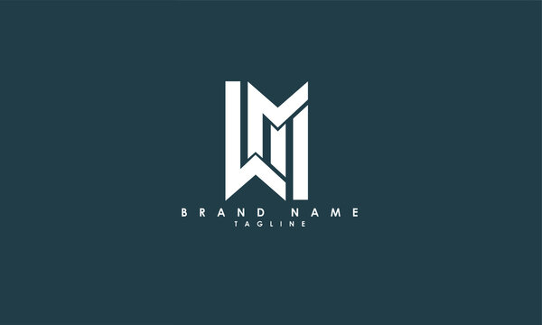 Alphabet letters Initials Monogram logo WM, MW, W and M