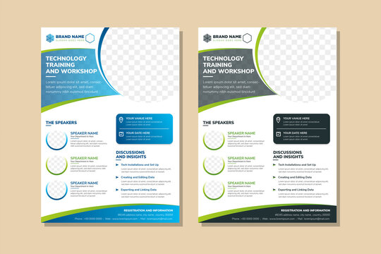 technology training and workshop flyer design template use vertical layout. Circle space for photo collage. Green and blue color of element variation which can be selected. white background.