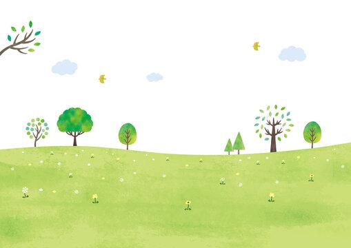シンプルな草原と木々水彩