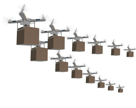 Drones in package delivery concept - 3d rendering