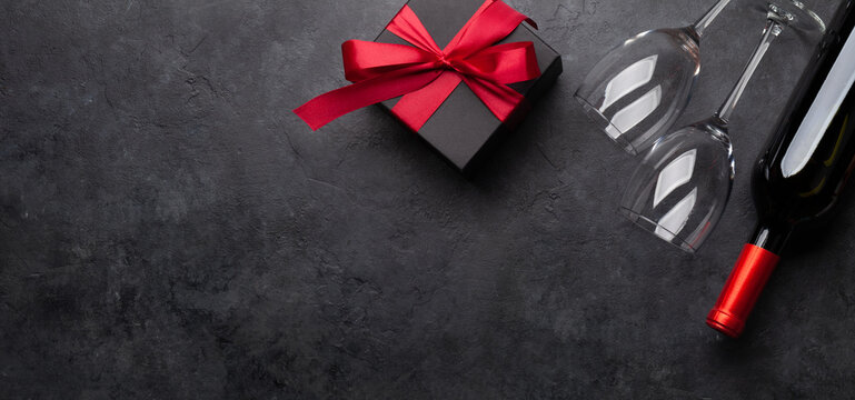 Valentines or Christmas card with wine and gift