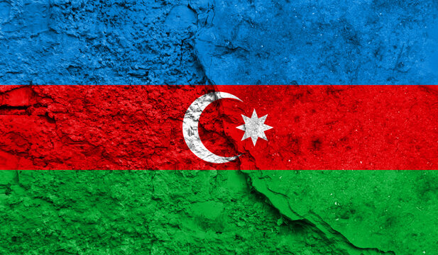 flag of Azerbaijan closeup painted on a wall