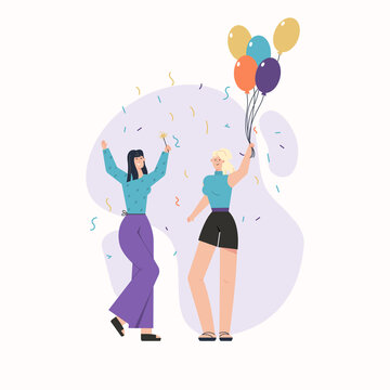 Happy young girls with balloons and confetti celebrating at party