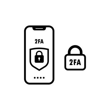 Two step authentication icon illustration. 2fa icon password secure. Smartphone safety login or signin. Vector illustration.