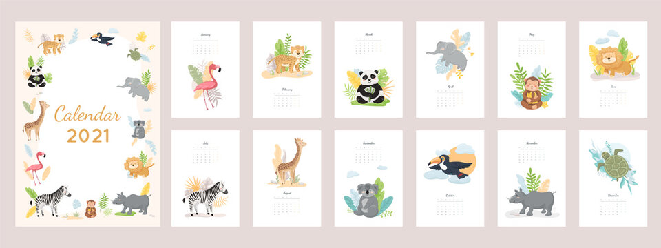 Calendar 2021 with cute wild baby animals. Set of 12 month vector illustrations, zoo characters design concept. Jungle leaves, plants isolated on white background