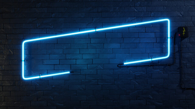 stylish modern blue neon light frame
