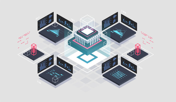Programming and software development isometric illustration. Artificial intelligence automated process big data processing. Abstract coding development process.