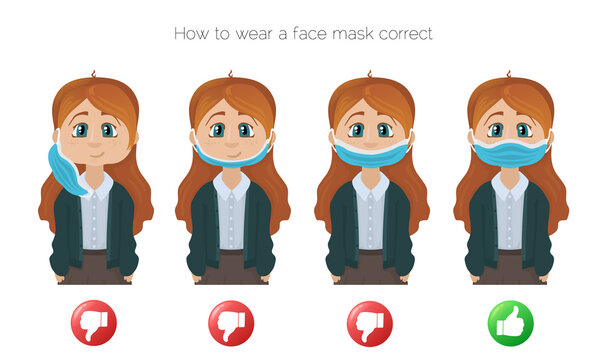 How to wear a face mask correct. Girl presenting the correct method of wearing a face mask. The wright and wrong way to wear a mask.