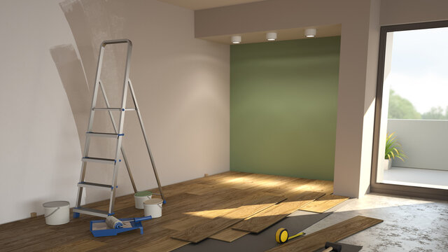 Repair in the modern apartment, empty interior with paints and ladder. 3d illustration