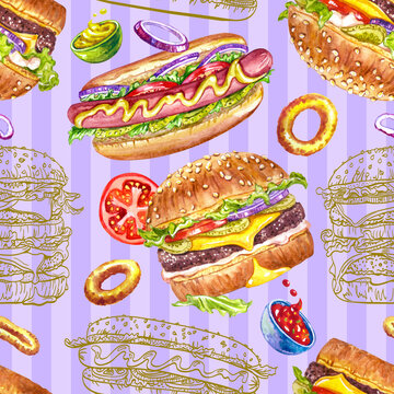 Seamless pattern of hamburgers, hot dogs and onion rings on a purple striped background, watercolor illustration, print on fabric, posters, postcards, menus, fast food background for various designs,