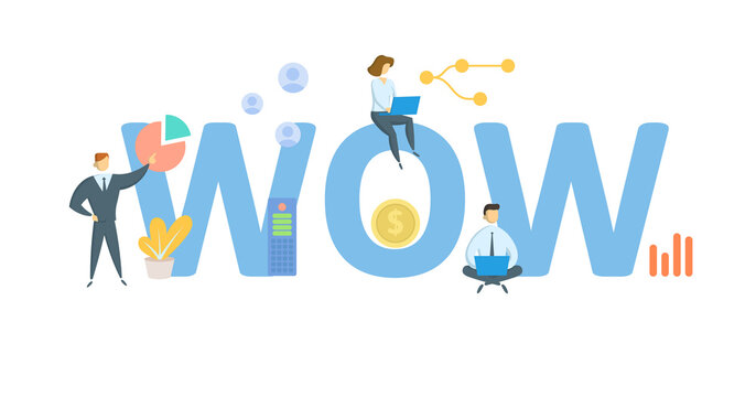 WOW, Ways of Working. Concept with keywords, people and icons. Flat vector illustration. Isolated on white background.