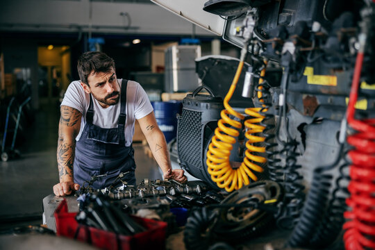 Confused hardworking tattooed bearded worker in overalls leaning on truck and trying to fix it. Firm for import and export interior.