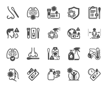 Covid Test icons. Nasal swab, Blood testing, Waiting time. Social Distance, Hand Sanitizer, Rapid Antigen Test icons. Coronavirus protection, Pneumonia virus. Nose with cotton swab. Vector