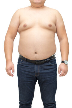 Fat man with a big belly on a white background. Diet