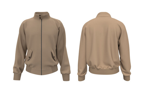 Harrington jacket mockup front and back views, 3d illustration, 3d rendering
