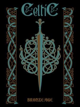 Celtic design. Celtic sword and Celtic Scandinavian ornaments