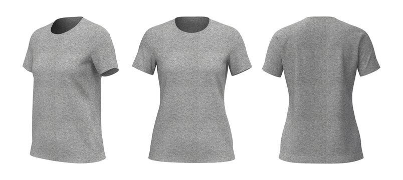 Women's crewneck t-shirt mockup, front, side and back views, design presentation for print, 3d illustration, 3d rendering