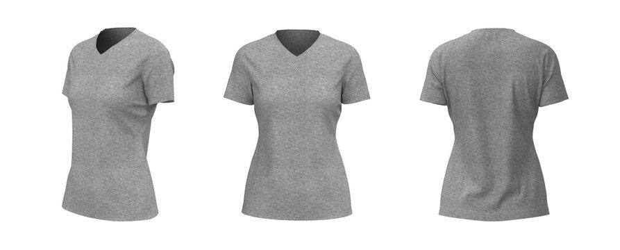 Women's v-neck t-shirt mockup, front, side and back views, design presentation for print, 3d illustration, 3d rendering