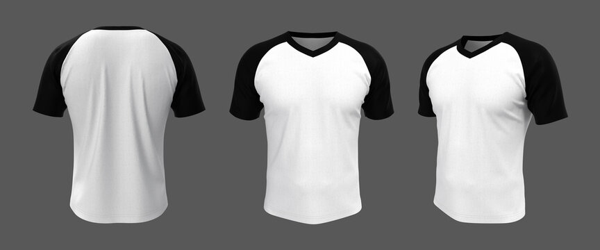 Blank raglan t-shirt mockup, 3d illustration, 3d rendering
