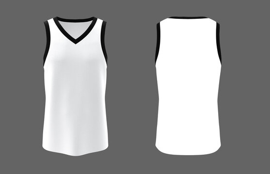 Blank  v-neck sleeveless t-shirt mockup in front and back views, design presentation for print, 3d illustration, 3d rendering