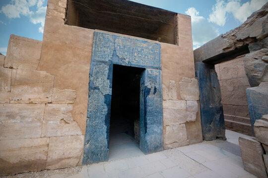 Basalt gate in the sanctuary of the Karnak Temple of Luxor, Egypt.