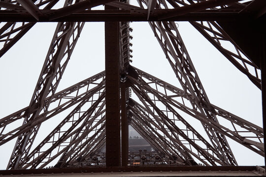 Eiffel tower detail of iron construction, Paris France.