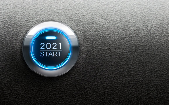 Start 2021 button with blue light - 3D illustration